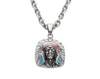 Woman's Biker Stainless Steel Indian Head Pendant Necklace USA Seller!