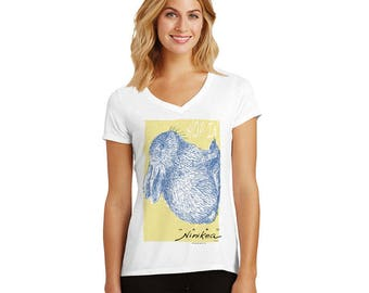 Hop in Blue Bunny  - V-neck T-shirt – exclusive design for bunny lovers – made in Hawaii