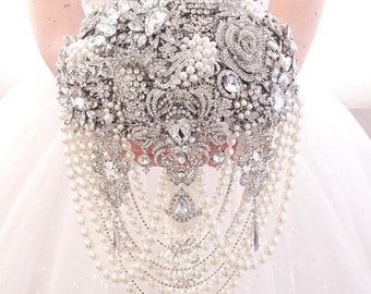 Pearl Luxury full jeweled silver brooch bouquet by MemoryWedding. Wedding glamour Gatsby crystal bling cascading