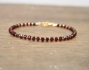 Garnet Bracelet, Garnet Jewelry, January Birthstone, Valentine's Day, Love, Sterling Silver or Gold Filled Beads
