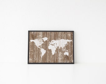 PRINTABLE Art Rustic World Map Print Rustic Print Rustic Art World Map Print World Map Art Travel Print Travel Art Map Print Map Art