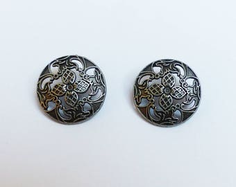 lot 2 metal buttons * flower * 2.3 cm