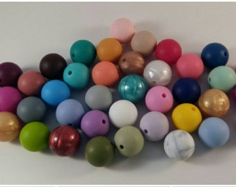 Now 43 color options! Lot of 50 (15MM)-Loose Silicone Beads (Mix & Match)