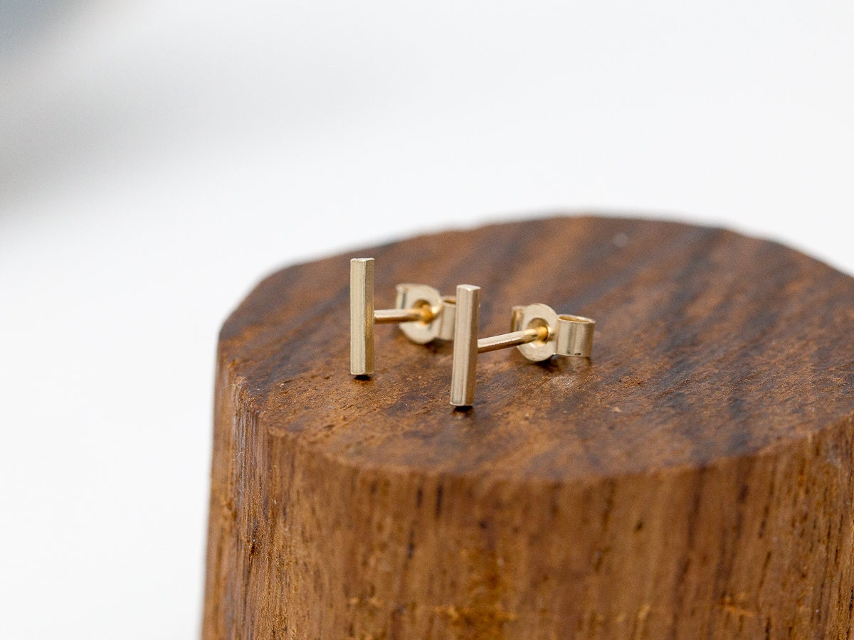 listing solid gallery gold line stud earrings bar minimalist photo fullxfull il