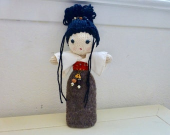 Mei the Geisha doll, Japanese Geisha in a brown kimono