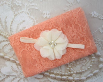 Peach Stretch Lace Swaddle Wrap AND/OR Ivory Flower Headband for newborn photo shoots, baby swaddle blanket, lace wrap by Lil Miss Sweet Pea