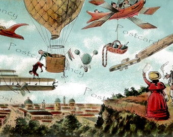 FANTASY airplanes over city, Vintage Postcard, Instant Digital Download