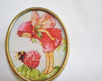 Angel Fairy Playing with Bee Flowers  Brooch