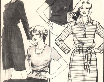 """SALE* Stretch & Sew 1506, Sz 24W-34W/Bust 46-56"""". Plus Size Polo/Rugby Shirt, Pullover Scoop Neck Top and Dresses/Basic Dress/Blouse pattern"""