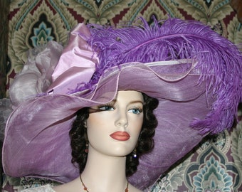 Kentucky Derby Hat, Ascot Hat, Edwardian Tea Party Hat, Titanic Hat, Somewhere in Time Hat, One of a Kind Hat - Wild Thistle