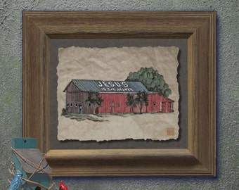 Nostalgic Jesus is the answer barn Cute yesteryear print adds Americana art religious wall decor as 8x10 or 13x19 painted barn print