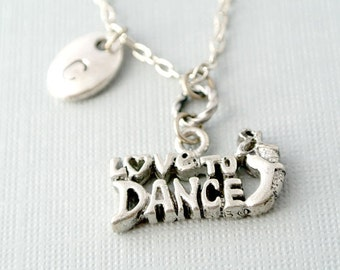 I Love to Dance Necklace, Ballet Shoes Initial Necklace,Initial Necklace, Initial Hand Stamped, Personalized