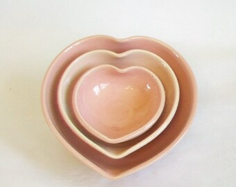 Heart Bowls - Nesting Hearts, Handmade, Shades of Pink - Soft Pinks - 4.5 inch diameter - Lovely Gift - Ready to Ship - Actual Set