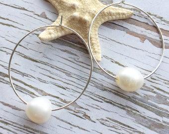 Silver Pearl Hoop Earrings for Women