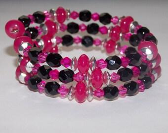 Fuschia Luster and Black Czech Glass Wrap Bracelet