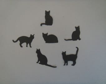 Cut set of 6 cats creation gray drawing paper