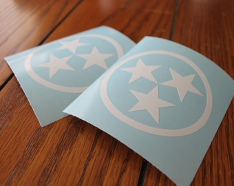 Tennessee Tri-Star Sticker, Car Decal, Laptop Decal