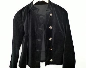 Black Velveteen Cropped Jacket XO Buttons Upcycled Size Medium