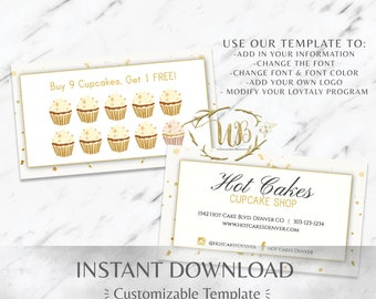 Gold|White|Bakery Business Cards|Cupcake Business Card|Bakery Branding|Bakery Marketing|Cupcake Shop|Coffee Shop|Sweets|Loyalty|Punch Card