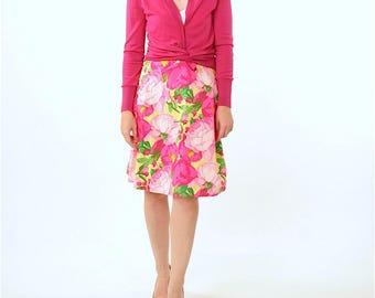 PINK SKIRT - Floral Print Skirt - Clothing - Skirts - Women's Skirts - Martha Negley Fabric Skirt