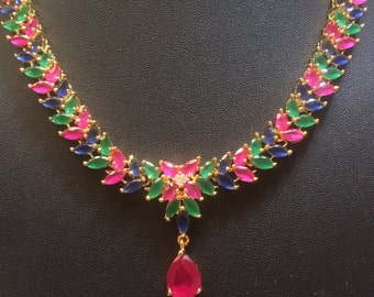 Multi Stone Nizam Gulubandh Necklace, Indian Wedding Jewelry,Statement Necklace, Pink Choker , Green Necklace, Ruby Temple Necklace
