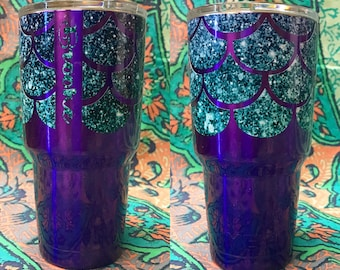 30oz GLITTER Mermaid Scale and Personalized Yeti Tumbler