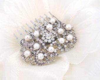 Joan - Rhinestone Filigree and Freshwater Pearl Bridal Hair Comb
