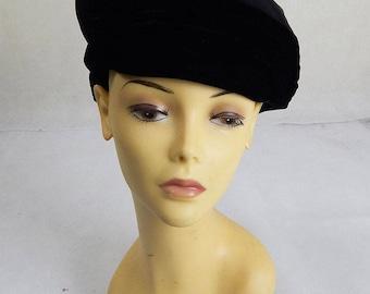 Original Vintage 1940s Black Hat