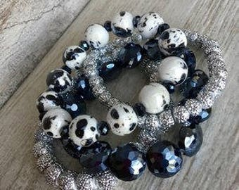 Sailor, Bracelet Stack, Navy jewlery, handmade bracelet, Arm Stack, beaded bracelets