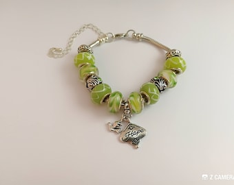"""Bracelet charms, green, with beads and charm """"hope"""" ref 879"""