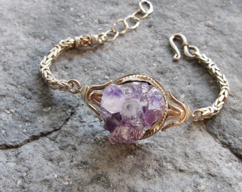 Druzy Amethyst Bracelet Hand formed Sterling Silver Statement jewelry