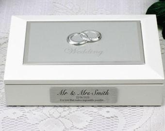 Personalised White Wedding Jewel Box