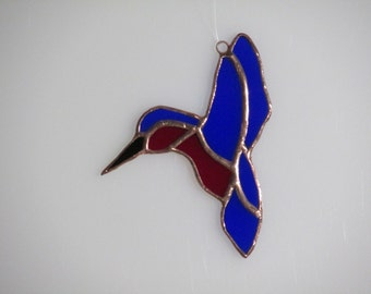 Stained Glass Blue and Red Hummingbird