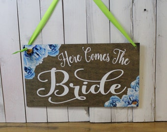 Here Comes Your Bride/Uncle/Groom/Ring Bearer Sign/Reversible/Flowers/Peonies/Blue/Gray/Watercolor/Reception Decor/Wood Sign/U Choose Colors