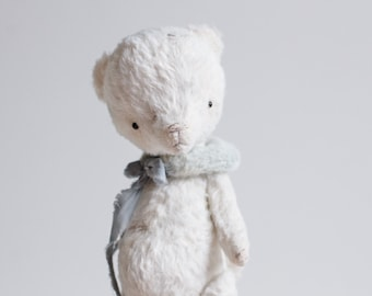 Made To Order White Mohair Teddy Bear 7 Inches Stuffed Animal Handmade Toy Plush Toy Personalized Gift For Her Artist Teddy Bear Soft Toys
