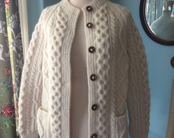 Donegal Ireland Fisherknit Irish cable knit sweater cardigan  jumper hand crafted cream wool size x small