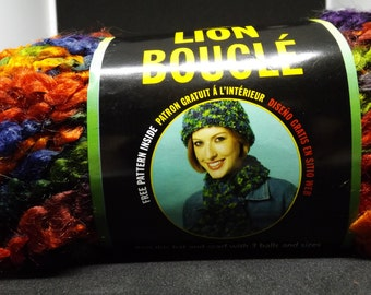 Lion Brand Lion Boucle Yarn ~ Hard Candies #209 ~ 57 Yards/52 Meters  ~ #6 Super Bulky ~ 2.5 Oz/70 Grams