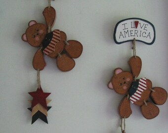 Primitive Americana decor, hanging bear, 4th of July, tole painting, gift for her, hostess gift, patriotic wall hanging, wall decor