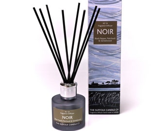 NOIR - Black pepper, Patchouli and Sandalwood Diffuser - 100ml in smoked glass