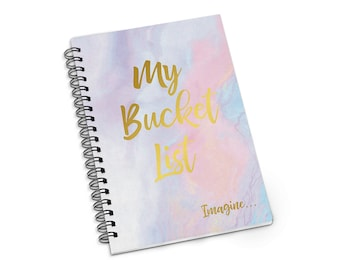 Gold Foiled Bucket List Journal, A5 / A4 Notebook, Spiral Bound Bullet Journal, Lined or Blank Custom Notebook, Gift for mum, Gift for her