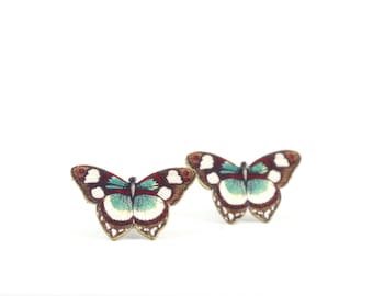 Brown Red Butterfly Post Earrings Butterfly Posts Studs Bug Jewelry Shrink Plastic Butterfly Jewelry Childrens Jewelry Little Girls Jewelry