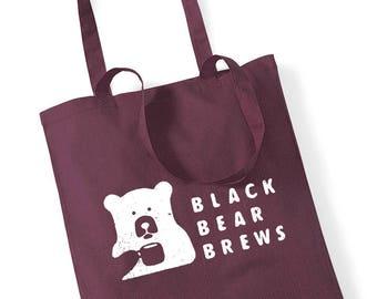 Cotton canvas tote bag / black bear brews print / cotton / screenprint / high quality / mustard mint bordeaux navy black natural red
