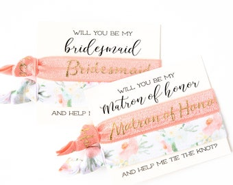 Will You Be My Bridesmaid & Maid of Honor Hair Tie Gifts | Bridesmaid Proposal, Peach + Mint Floral Hair Tie Bridesmaid Gift, Proposal Card