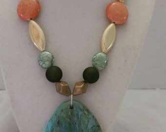 Green and Orange Jewelry Set One Of A Kind Jewelry Set  Multicolored Necklace and Earrings Multicolored Jewelry Beach Jewelry Set Great Gift