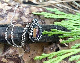 Titanium quartz crystal wire wrapped necklace. Sterling silver.
