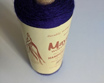 VINTAGE WOOL/Bright Purple Yarn Fiber Cone/Tapestry/Wall Hanging Kit/Weaving/Knitting/Crochet/Fiber Arts/Maypole/100% Virgin Wool/2ply Wool