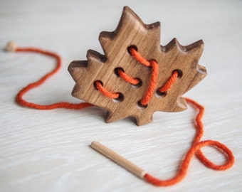 Wooden Lacing Toy, Montessori Toy,  Educational Toy, Sewing Toy, Natural Toy,  Learning toys, Threading Toy, Motor Skills toy, Lacing toys