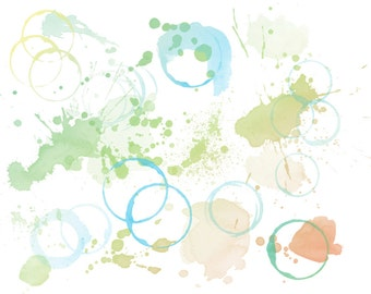 22 high quality watercolour splatter and ring brushes with corresponding PNG files