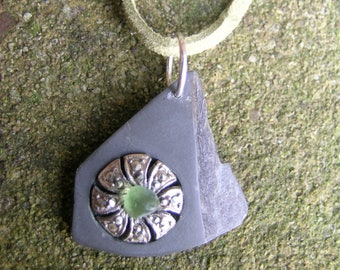 """Gifts from the North: Upcycled Coniston slate pendant with vintage marcasite earring + Seaham sea glass 24"""" adjustable green suede thong"""