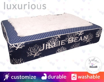 X-Large Navy & White Luxury Dog Bed| Coral Reef, Polka Dot, Coastal, Nautical, Beach | Washable!  Design your Own